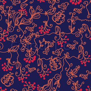 Dark floral seamless pattern with birds and arrowwood