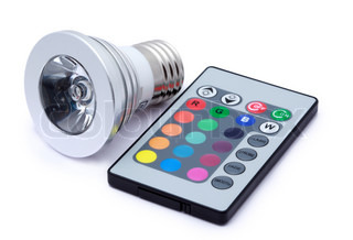 Multi colour LED light bulb and remote control with some several multi-colored buttons