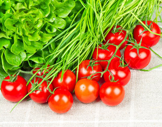 tomatoes, chives and salad. vegetables mix