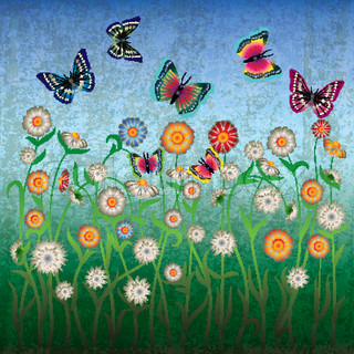 abstract grunge illustration with flowers and butterfly on blue