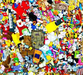 background of multi color toys. variety assortment