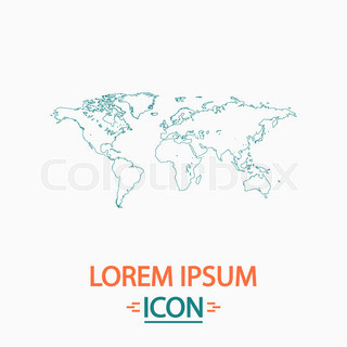 World map simple flat white vector pictogram on black circle world map computer symbol gumiabroncs Gallery