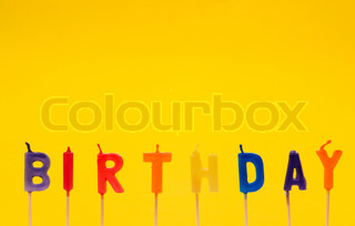 Happy birthday isolated on the yellow background