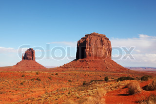 The majestic Monument Valley. Famous bright orange sandstone rock