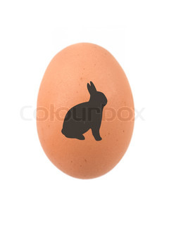 An egg with an easter bunny symbol isolated against a white background