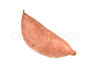 A sweet potato isolated against a white background