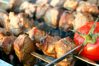 barbeque, fried meat with bread and tomato