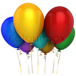 Party birthday balloons seven multicolor. 3D render. Isolated on white background