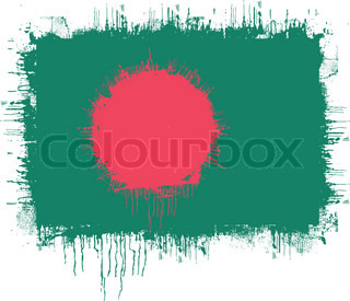 grunge illustration of flag of Bangladesh on white