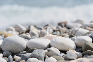 pebble on a beach. Sea coast Crimea, Ukraine