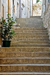 Old outside staircase made of rocks