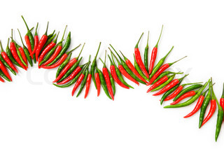 Red and green chili peppers isolated on the white