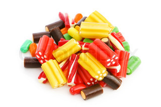 Colourful sweets isolated on the white background