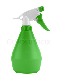 plastic water sprayer container on white background