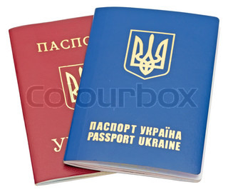 Two Ukraine passports isolated on white background