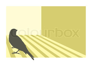 Canary bird silhouette with geometric background.