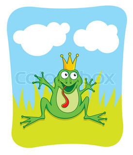 Vector cartoon of a prince frog waving to be kissed.