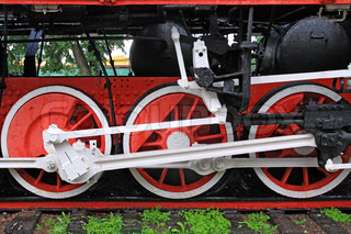 wheel of the old locomotive on stop