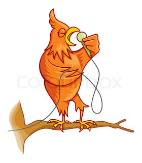 Cartoon illustration of an orange canary bird on a tree branch singing.