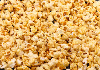 Texture of caramel popcorn. Close-up.