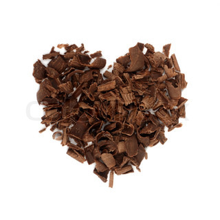 Chocolate love. Chocolate chips, folded in the shape of the heart.