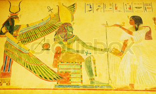Egyptian concept with drawings on the wall