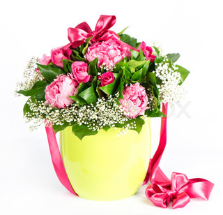 colorful flowers bouquet with ribbon