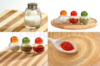 Set of spices on wooden board