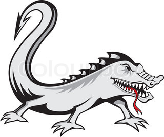 Evil lizard tattoo isolated on white background