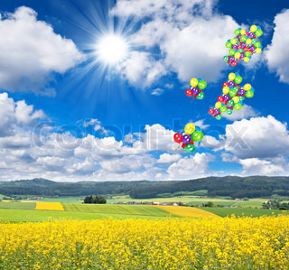 beautiful summer landscape with air balloons over blue sky
