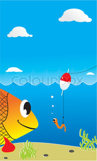 Vector illustration playful underwater submissions with big fish and scared small worm on fishing hook