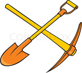 Crossed yellow and orange pickaxe and shovel icon on white background.