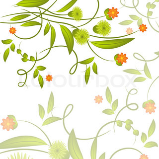 Abstract green flowers and leaves on white background