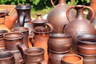 clay pitchers on rural market