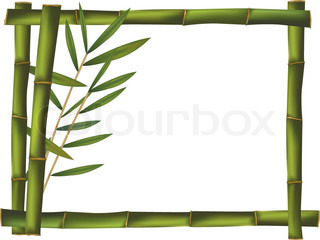 Green bamboo frame made of stems. Vector.