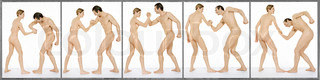 ©Dominique Douieb/AltoPress/Maxppp ; Nude man and woman arm-wrestling, full length, image sequence