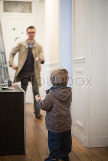 ©Sandro Di Carlo Darsa/AltoPress/Maxppp ; Father and toddler son preparing to leave house