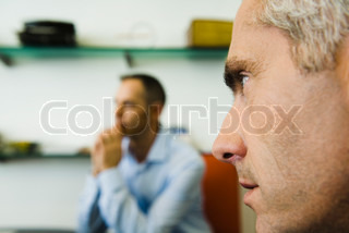 ©Eric Audras/AltoPress/Maxppp ; Man, close-up profile, another man in background
