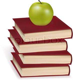 Green apple laying on the four books. Photo-realistic vector illustration.