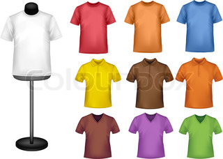 Many colored shirts with a mannequin. Photo-realistic vector illustration.