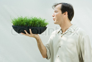 ©Laurence Mouton/AltoPress/Maxppp ; Man blowing on potted wheat grass, profile