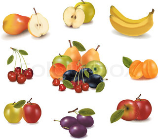Big group of sweet fruit. Vector.