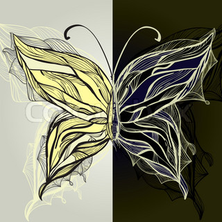 vector hand drawn concept beautiful butterfly, vintage style, eps 10