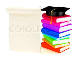 Graduation cap on books . 3d render