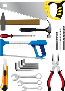 different set of hand tools isolated on white