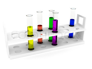 Test tubes any color over white. 3d rendered image