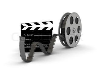 Film Slate mit Movie Film Reel.