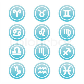 set of 12 blue zodiac signs