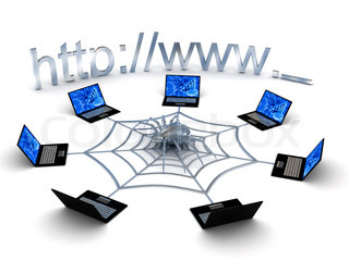 Web concept over white background. 3d rendered image
