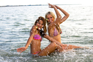 two young girl bathed in the Sea of Azov